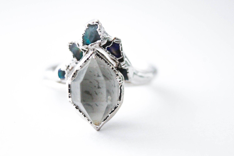 Herkimer Diamond & Raw Australian Opal Chip Wedding Ring