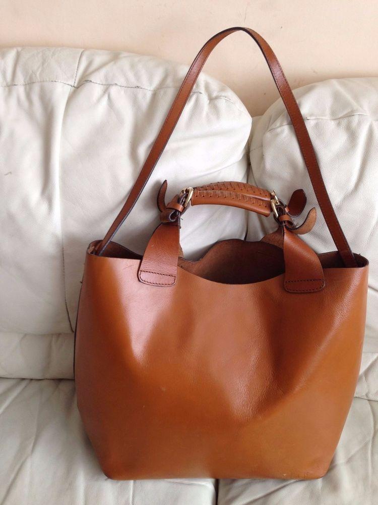 20dec58f5270 ZARA super thick real leather large tan brown hand shoulder bag tote ...