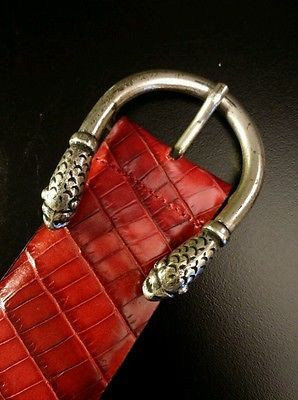 BERGE S Red Snake Leather w/ Decorative Dragon Head Buckle, Sz Small