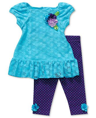 Sweet Heart Rose Baby Set, Baby Girls 2-Piece Lace Dress and Floral Leggings - Kids Baby Girl (0-24 months) - Macy's