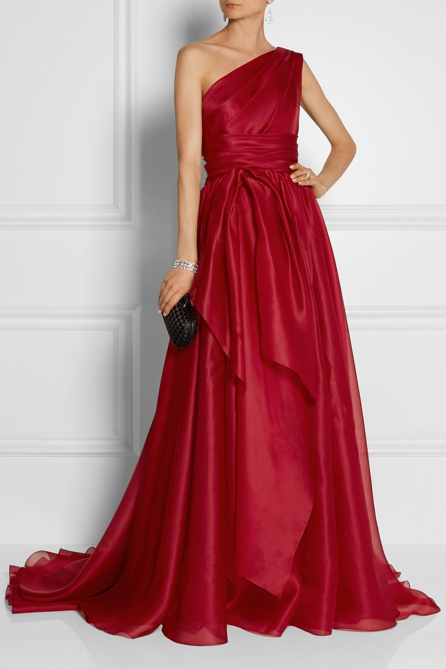 7f12e817b76 Women s Red One-Shoulder Draped Silk-Gazar Gown