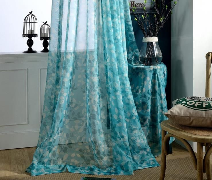 Turquoise Blue Sheer Curtains Leaf