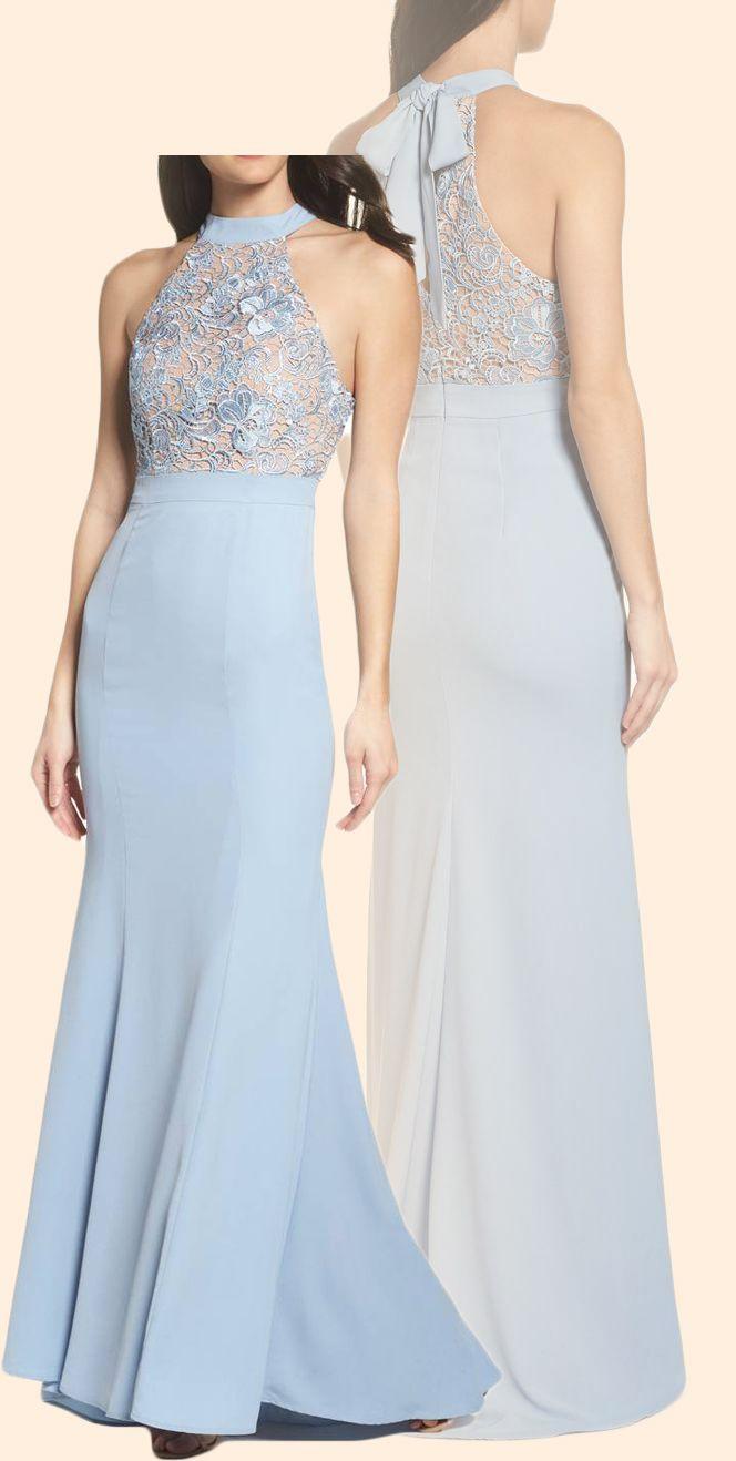 Mermaid halter lace jersey long prom dress sky blue formal evening