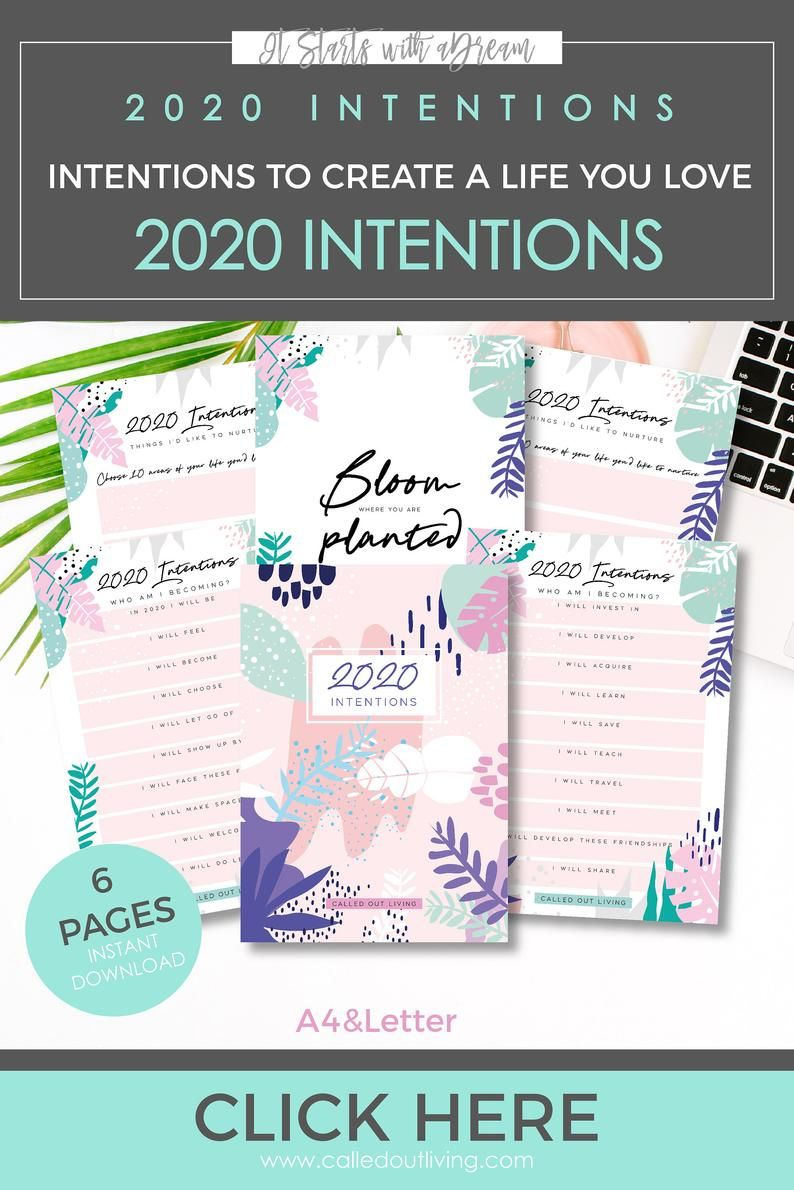 2020 goals, 2020 new year resolutions, intentions planner