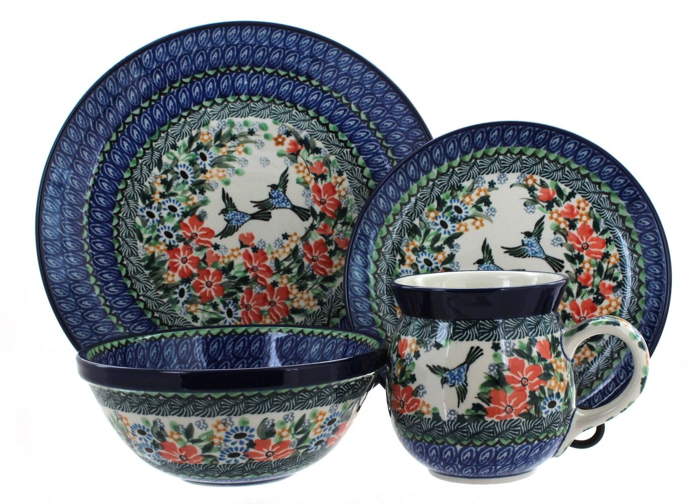 Maria 4 PC Dinner Set - Blue Rose Polish Pottery  sc 1 st  Pinterest : polish dinnerware sets - Pezcame.Com