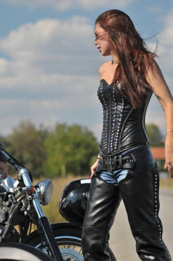 RIDER Leather /& Latex corset EXTRA SMALL