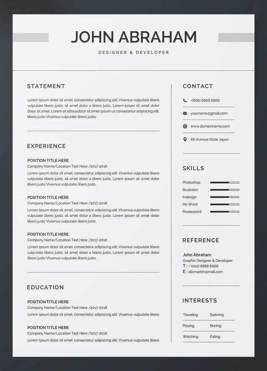 Clean Resume and CV Template Word in 2020 Cv template