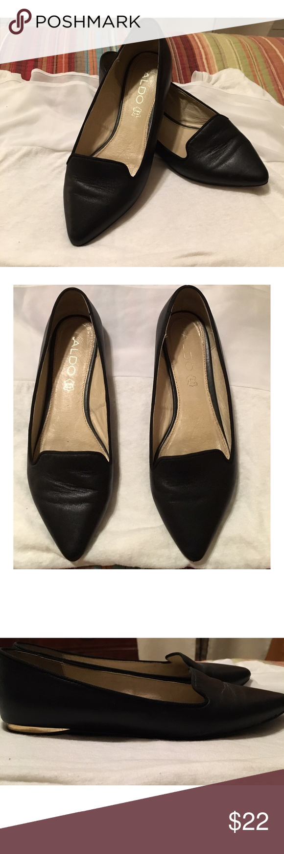 Aldo pointed flats These are Aldo pointed black flats and have only been worn a few times. They are pure leather and have minimal creases. They are very comfortable and on the bottom they have a flash of gold.They are a 7.5 and I'm a size 8 and they fit perfect. ALDO Shoes Flats & Loafers