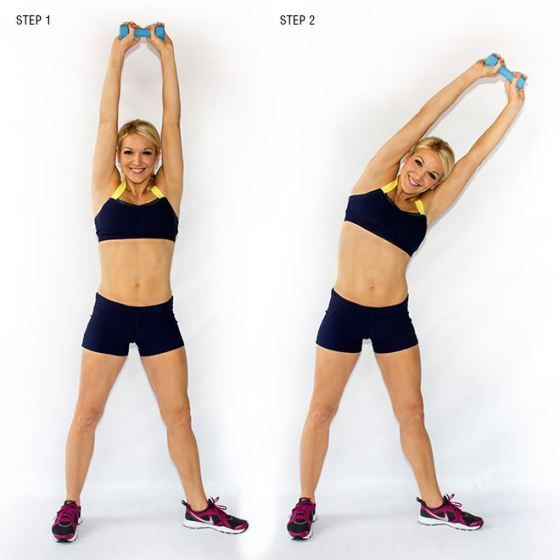 5.Triangle Pose Side Lifts: Stand with feet 2-3 inches further than hip width apart. Keep right foot facing forward, turn left toe outward to the left. Keeping hips facing forward, raise the dumbbell above head. Drop upper body to the left, shifting weight and hips to the right. Keep arms straight and don't let the weight drop below your head. Lift back up, returning to the top but keep the weight above your head. Do as many side lifts as you can in 30 seconds, then switch sides and repeat.
