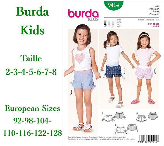 RABAIS 20%, Burda 9414, Vêtement pour fille, pantalon, estival, 2 ans à 8 ans, Burda Kids, neuf, non coupé, jamais utilisé