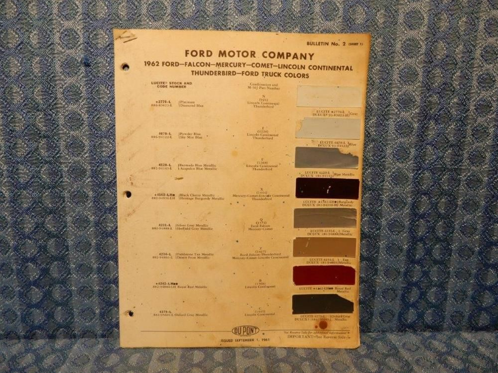 1962 Ford Lincoln Mercury Car Truck Original Paint Color Chip Chart 5 Pages Dupont Ford Company Mercury Cars Ford Lincoln Mercury