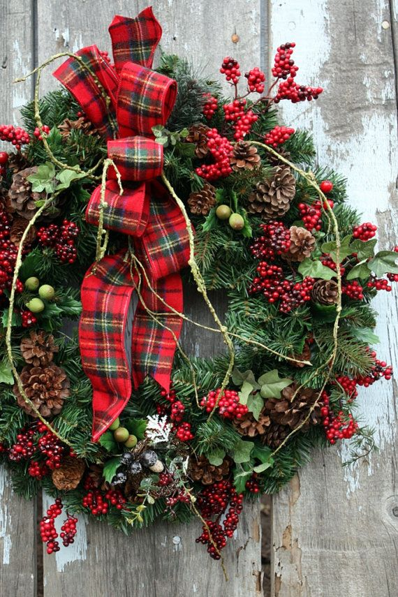 Christmas Wreath Plaid Ribbon Red Berries By