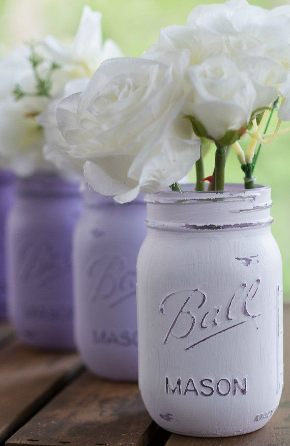 Lavender Painted and Distressed Mason Jars - Wedding
