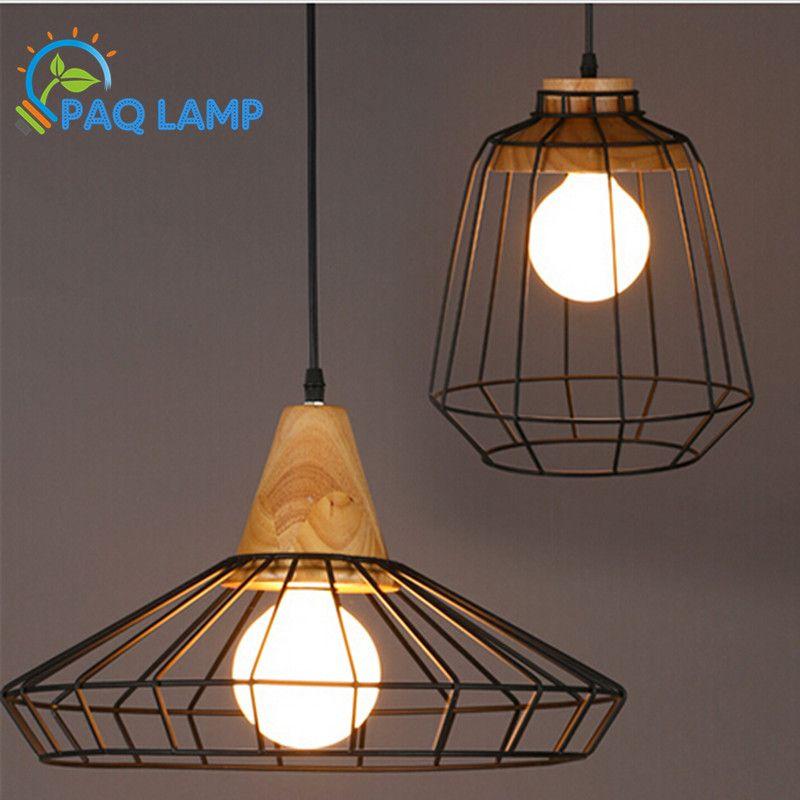 זול נברשות בסגנון רטרו מנורות אהיל כלוב שחור עץ וברזל מתקן
