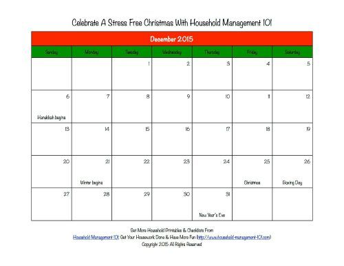 Free printable Christmas calendar for December 2015 for use in your holiday planner, from Household Management 101