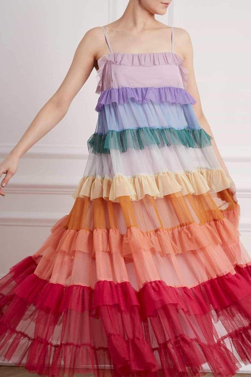 Rainbow Tiered ruffle dress