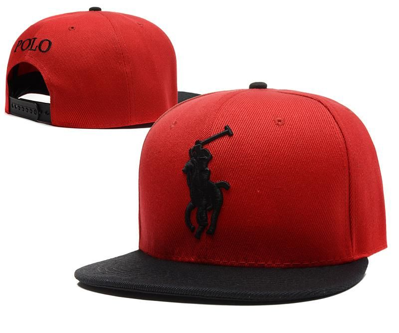Mens Polo Ralph Lauren Big Pony Embroidery 2016 Fashion Trend Top Quality Leisure Snapback Cap - Red / Black