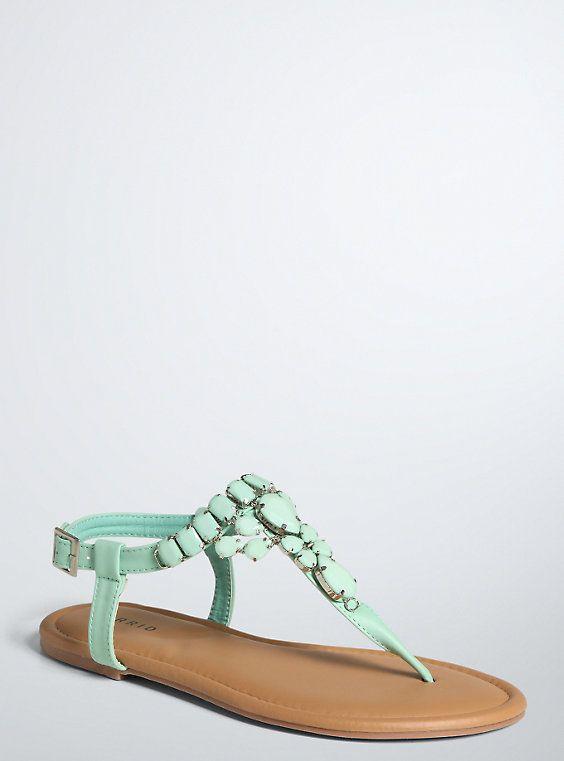 fdf671834 Plus Size Gemstone T-Strap Sandals (Wide Width)
