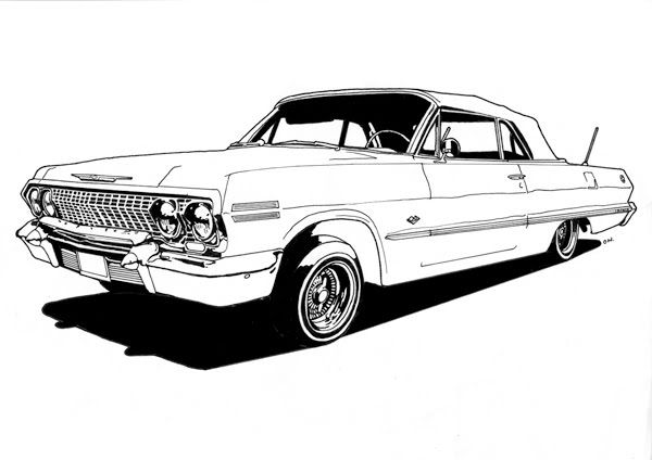 lowrider cars drawings