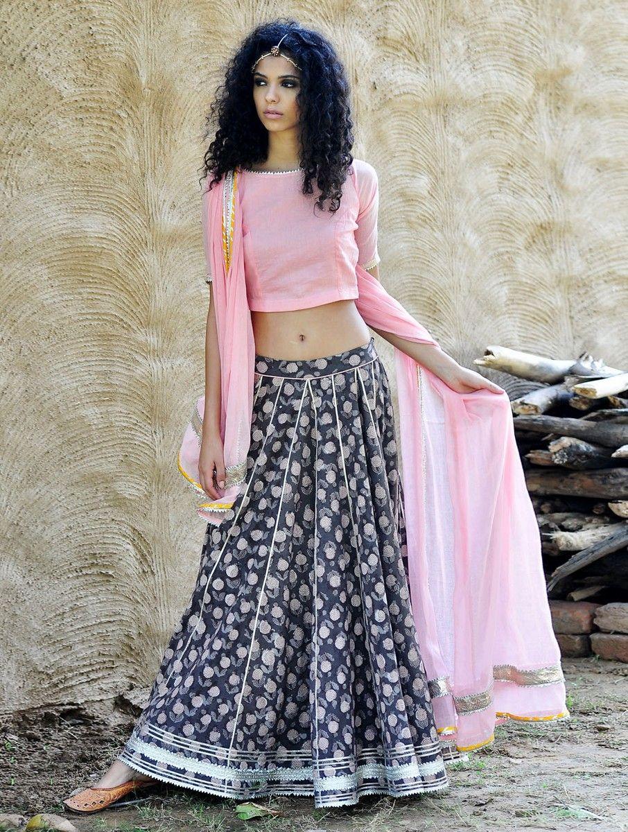 5561b8fbbbf4af Buy Pink Grey Natural Dyed Hand Block Printed Gota Embellished Cotton  Lehenga Choli & Dupatta Set of 3 Apparel Tunics Kurtas Scintillating Desire  Bagru ...