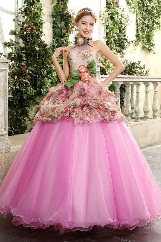 caa865e61a4e3 Halter robe de bal ceinture manches étage robe de couleur longueur de fleur  à lacets rabais Cfz0026
