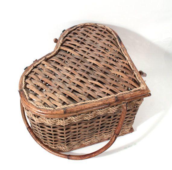 Vintage Heart Shaped Basket With Handle