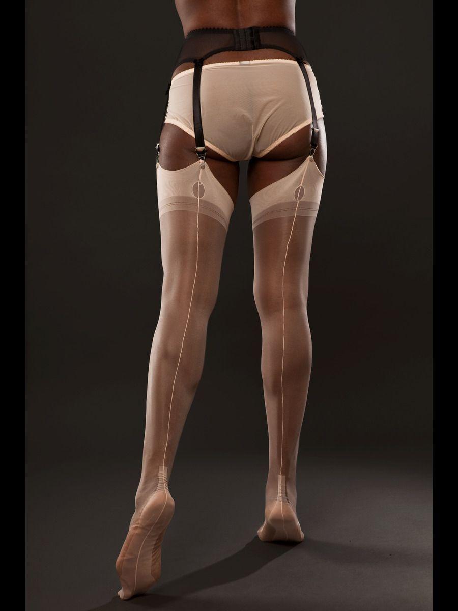 bb3d59effdc Fully Fashioned Cuban Heel Stockings in Peach - Gio
