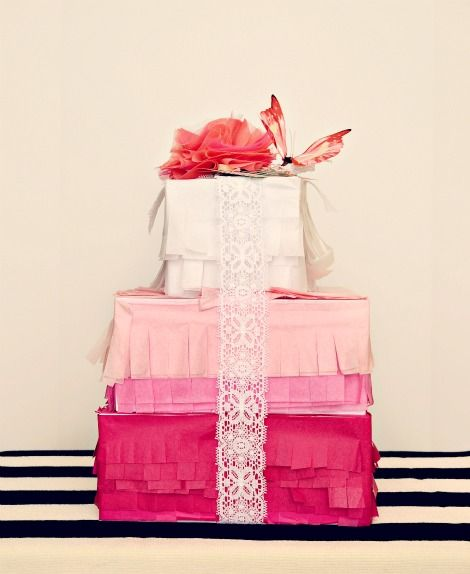 layers + layers of pink wrapping - love this!