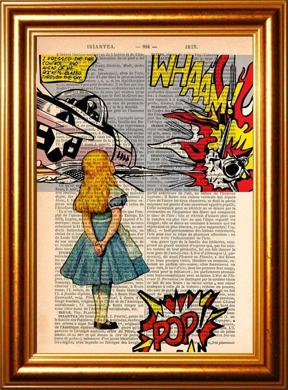 Alice Meets Roy Lichtenstein's Whamm Print on upcycled 1890's French Dictionary Page mixed media original digital print