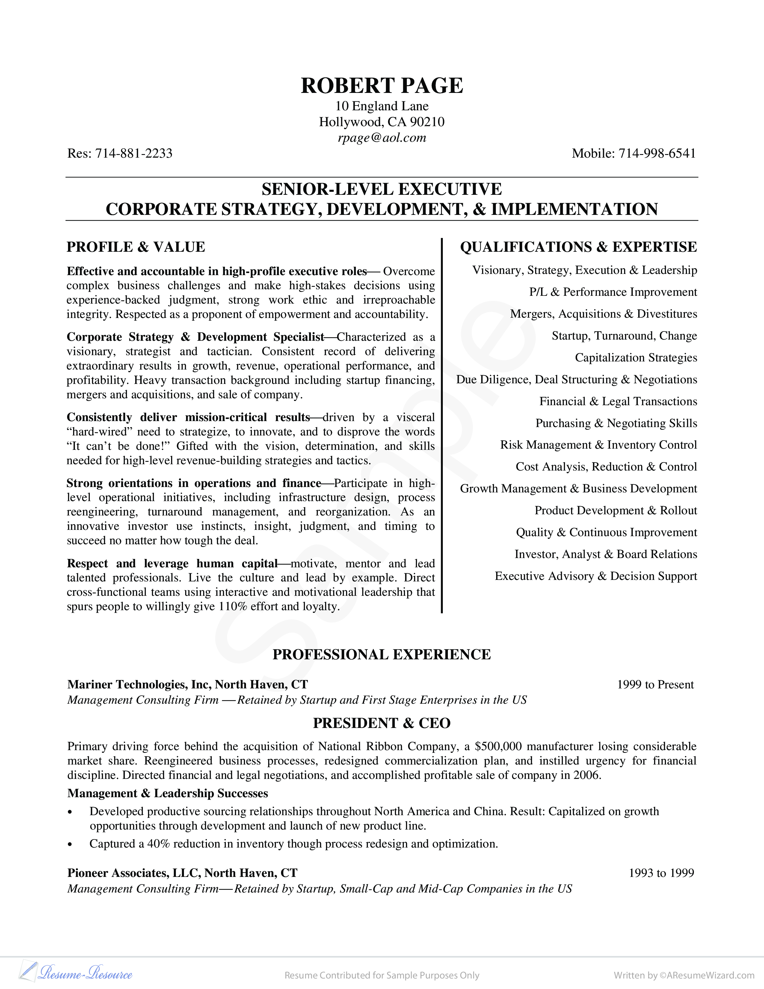 Exex11 Pdf Contributed For Business Resume Examples Job Resume Examples Good Resume Examples