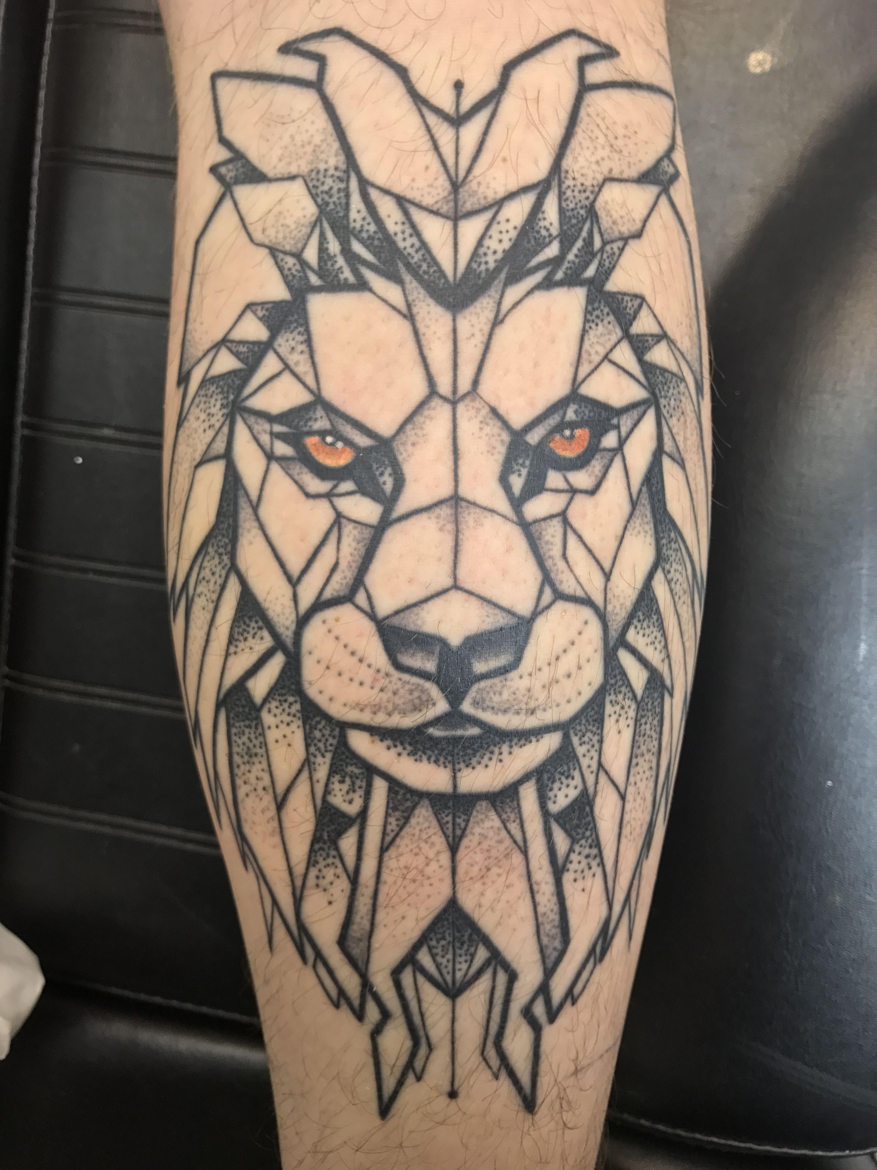 Geometric Lion Tattoo On My Calf, Leg Leg tattoo men