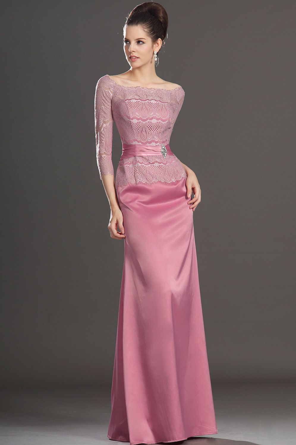 Pink Scoop Floor Length Elastic Satin Sheath Column Mother Of The ...
