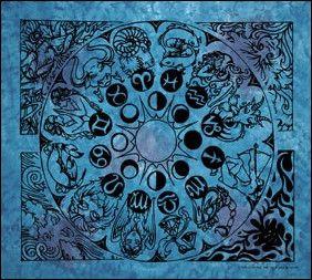 Blue Zodiac Tapestry, 90 in. x 100 in., SKU: 000785