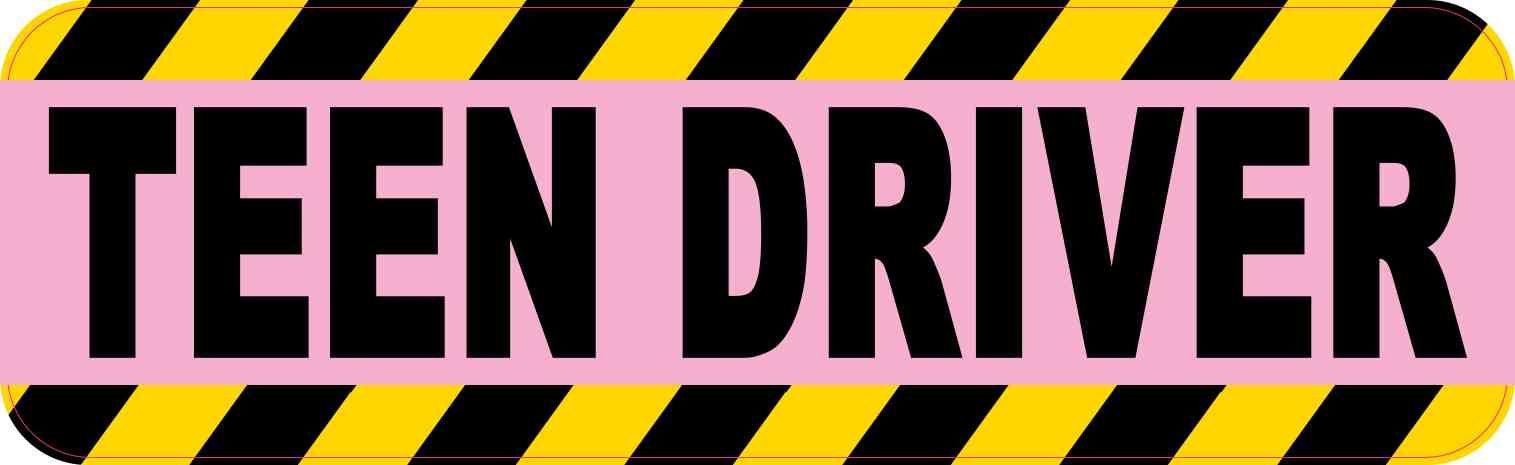 10in x 3in pink teen driver bumper sticker vinyl truck window stickers decal stickertalk