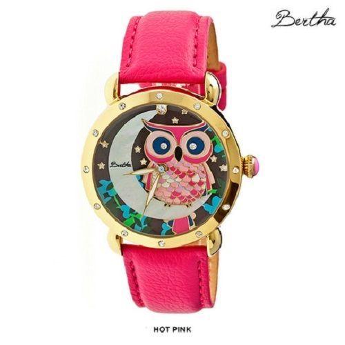 Bertha Ashley Owl Fashion Watch Crystal Accented Geniune Leather Hot Pink NIB  #Bertha #Fashion