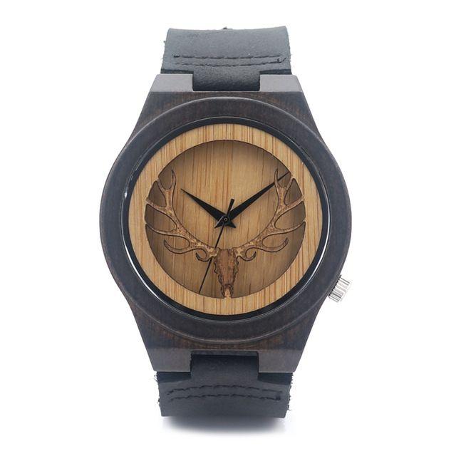 BOBO BIRD hueco grabado esqueleto principal de los ciervos de madera de bambú del reloj del movimiento de Japón 2035 reloj de cuarzo con correa de cuero para hombre