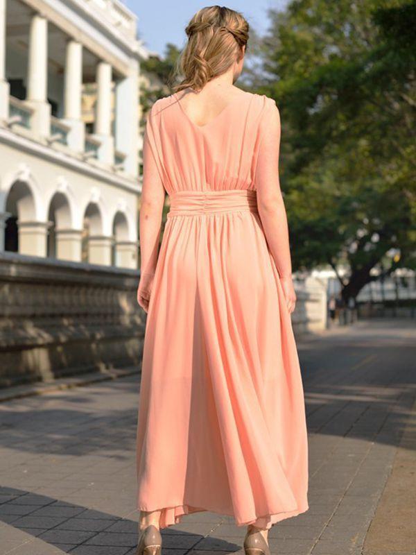 V Neck Chiffon Sleeveless Empire Vacation Maxi Dress