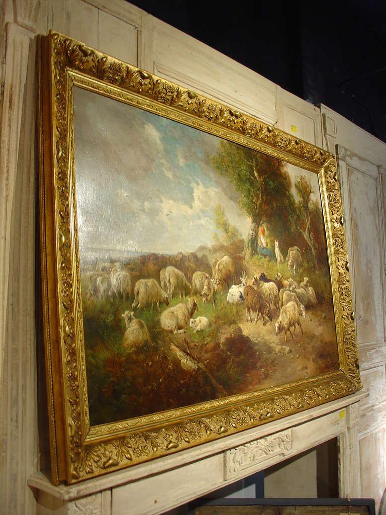 Large Antique Pastoral Oil Painting on Canvas-Henry Schouten | ART ...