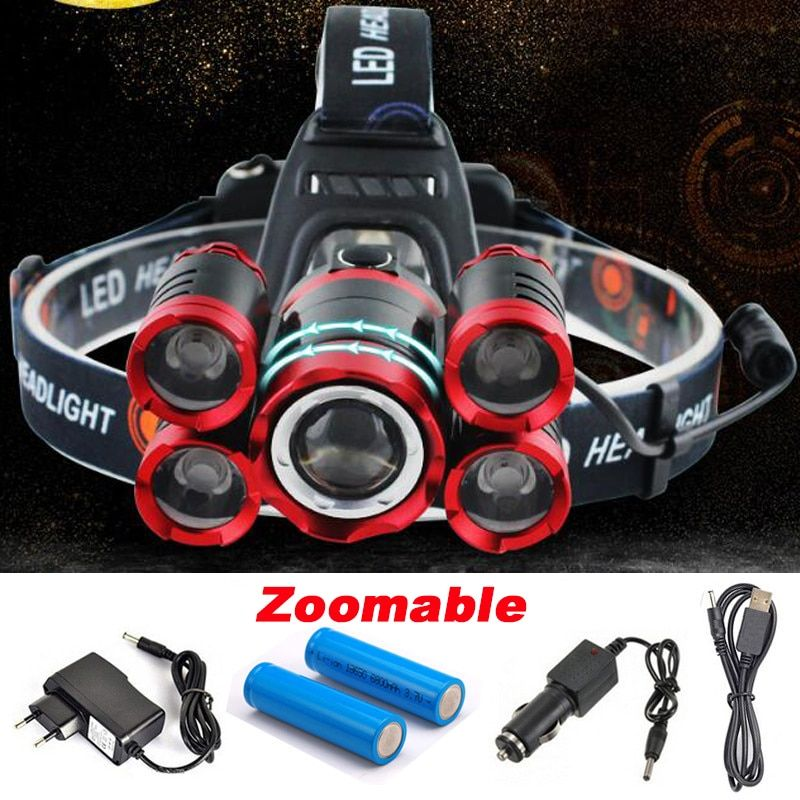 Cree 5 Led Xml T6 Headlight 20000 Lumens 4mode Zoomable Headlamp Rechargeable Head Lamp Flashlight 2 18650 Battery Ac Flashlight Rechargeable Headlamp Headlamp
