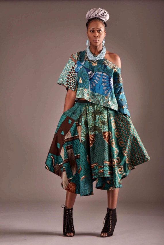 Audry African Print Maxi Full Flare Skirt Blue Mix By
