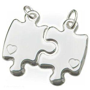 CLEVER SCHMUCK Partneranhänger Puzzleform mit Herz ECHT SILBER 925 - http://www.wonderfulworldofjewelry.com/jewelry/necklaces/clever-schmuck-partneranhnger-puzzleform-mit-herz-echt-silber-925-de/ - Your First Choice for Jewelry and Jewellery Accessories