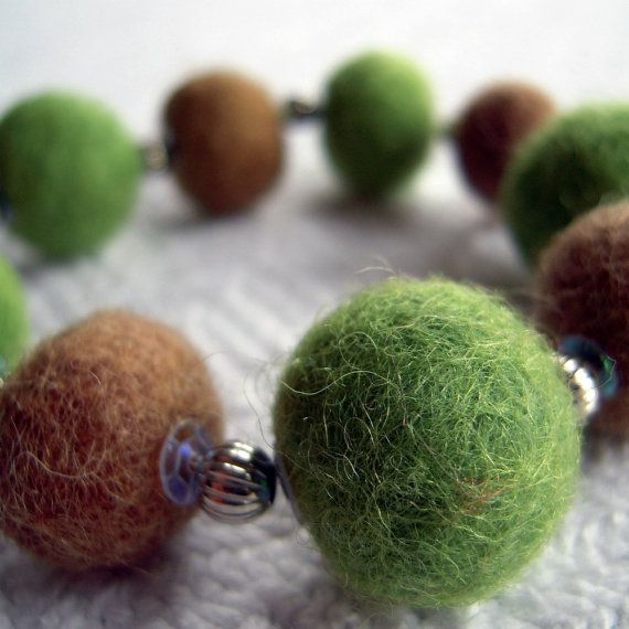 Felted Wool Bead Bracelet Green Brown with by treasuregoddess, etsy.com/listing/87784331/felted-wool-bead-bracelet-green-brown