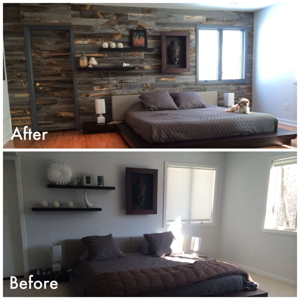 Wood Accent Wall Master Bedroom: #Stikwood #DIY #Before&After Wood Wall. Reclaimed