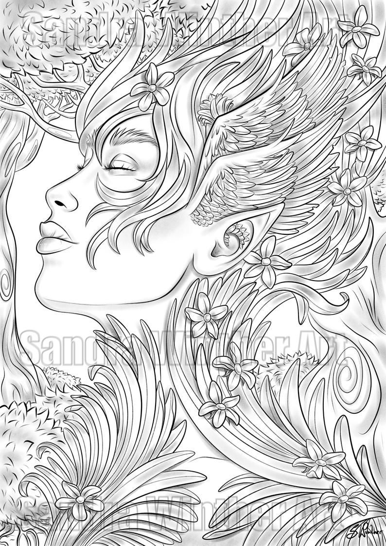 Forest Fae Printable Digital Coloring Page