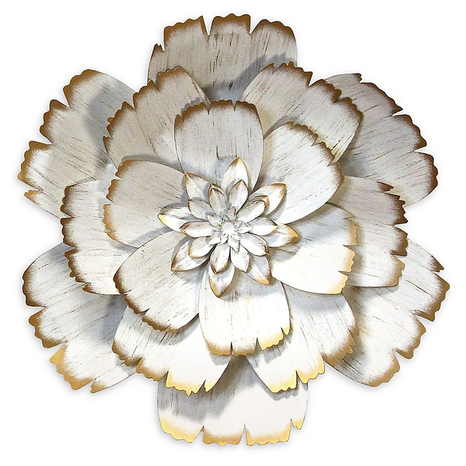 Stratton Home Decor Metal Flower Wall Art In White Bed Bath Beyond In 2020 Flower Wall Art Metal Flowers Metal Flower Wall Art