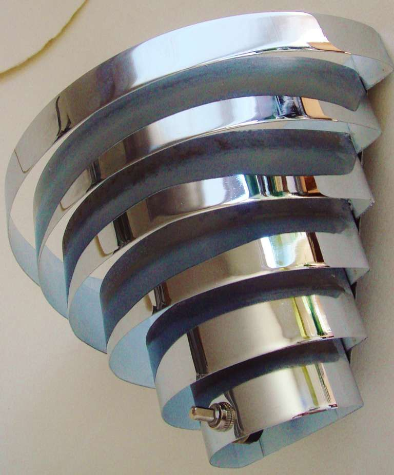 Pair of american art deco venetian blind chrome plated sconce wall fixtures