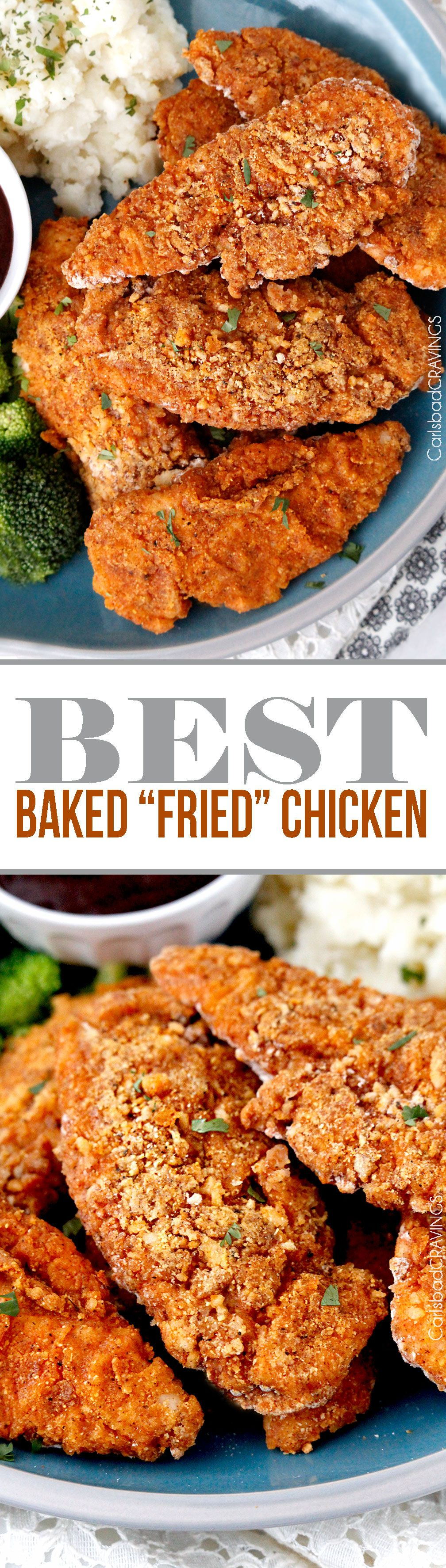 "seriously the BEST Baked ""fried"" chicken!  Crispy chicken marinated in spiced buttermilk then breaded with flour, panko, cornmeal and spices then baked in a little butter -tastes better than KFC without the grease and guilt!  #KFCchicken #bakedfriedchicken #friedchicken"