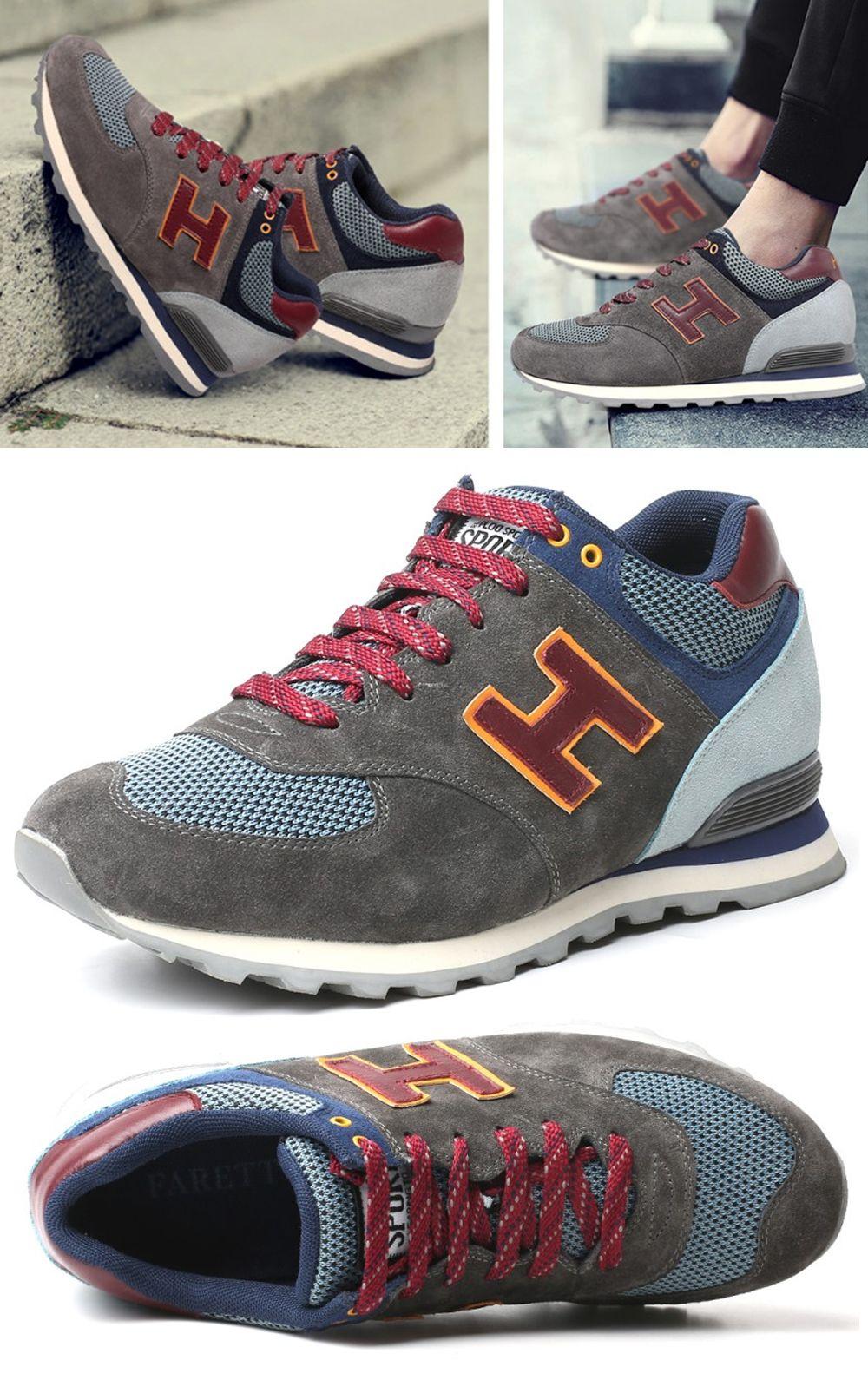 Zamszowe Modne Buty Meskie Sportowe Podwyzszajace O 7cm Wiazane Shoes Sneakers New Balance Sneaker