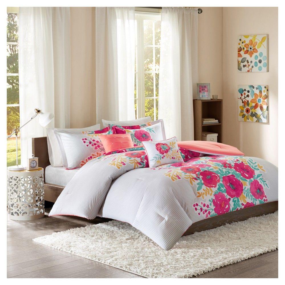 coral suri printed comforter set twin twin xl 4pc pink twin xl