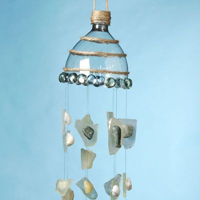 A beach themed wind chime out of recycled materials and for Wind chimes from recycled materials